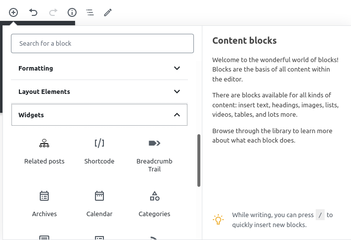 """Relevant Related Posts block  can be found under """"Widgets"""""""