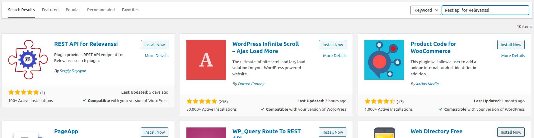 Rest API for Relevanssi installation via WordPress plugins menu