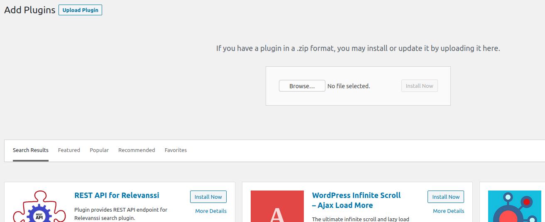 Rest API for Relevanssi installation via WordPress plugins upload feature